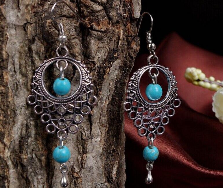 New Tibetan Bohemian Antique Vintage Green Stone Bead Hollow Flower Drop Earrings for Women Gift Indian Jewelry Hook Earrings