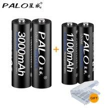 Пало 2 шт. 1,2 в 3000 мАч AA батареи + 2 шт. 1,2 в 1100 мАч AAA батареи Ni-MH AA/AAA перезаряжаемые батарея