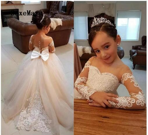 Classic   Flower     Girl     Dress   with Bow Buttons Appliques Lace Sheer Back Cute   Girls     Dress   Full Sleeves First Communion Gowns Tulle