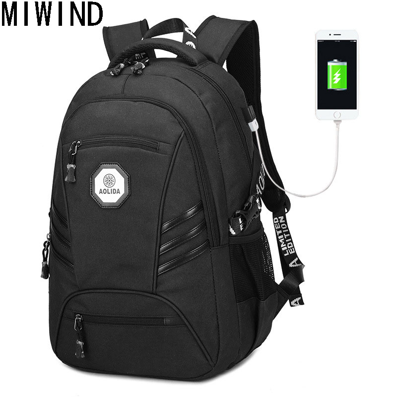 MIWIND Backpack 2017 New Waterproof Men's Backpacks Large Capacity School Bag Oxford Black School Bags For Teenager  T1160 men backpack student school bag for teenager boys large capacity trip backpacks laptop backpack for 15 inches mochila masculina