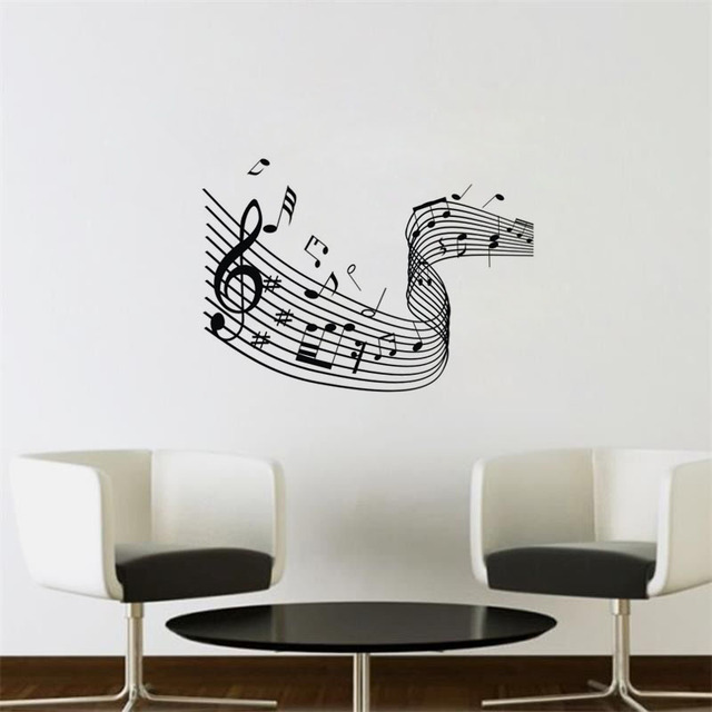 Quaver Musical Wave Music Notes Wall Stickers Home Decor Wall Art ...