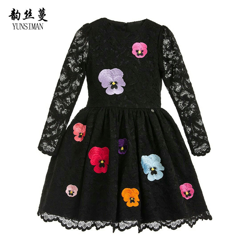 New Girls Dress Long Sleeve 4 6 8 10 12 Years Girls Black Lace Flower Embroidered Princess Party Dress Kids Brand Clothes 9 3B01 baby girls dress 2016 new brand summer white blue high grade embroidered princess dress 2 8 years for girls kids clothes
