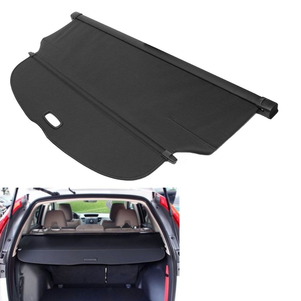 BBQ@FUKA Black Rear Trunk Canvas Cargo Cover Security Shield Fit For Honda CRV 2017-2018 car rear trunk security shield cargo cover for honda fit jazz 2014 2015 2016 2017 high qualit black beige auto accessories