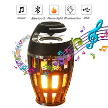 LED Flame Lamp Bluetooth Speaker Touch Soft Light Portable Atmosphere Lamp Stereo Speaker Sound Waterproof Dancing Party Smart