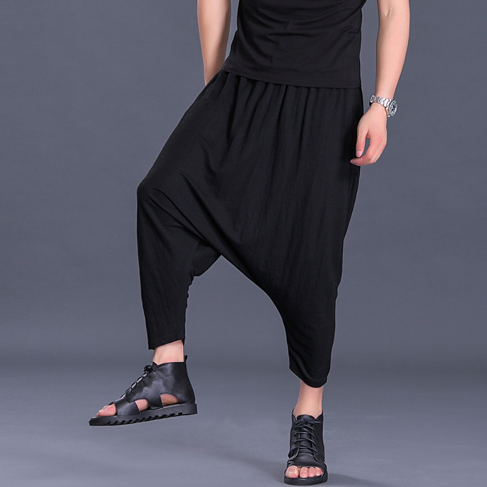 2018 summer harem pants male Korean version of the trend of leisure large size nine points pants men's pants loose hanging pants