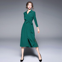 Dress Belted Loose Autumn Long Sleeve Cardigan Split High End Women Dress Office Work Robe Femme