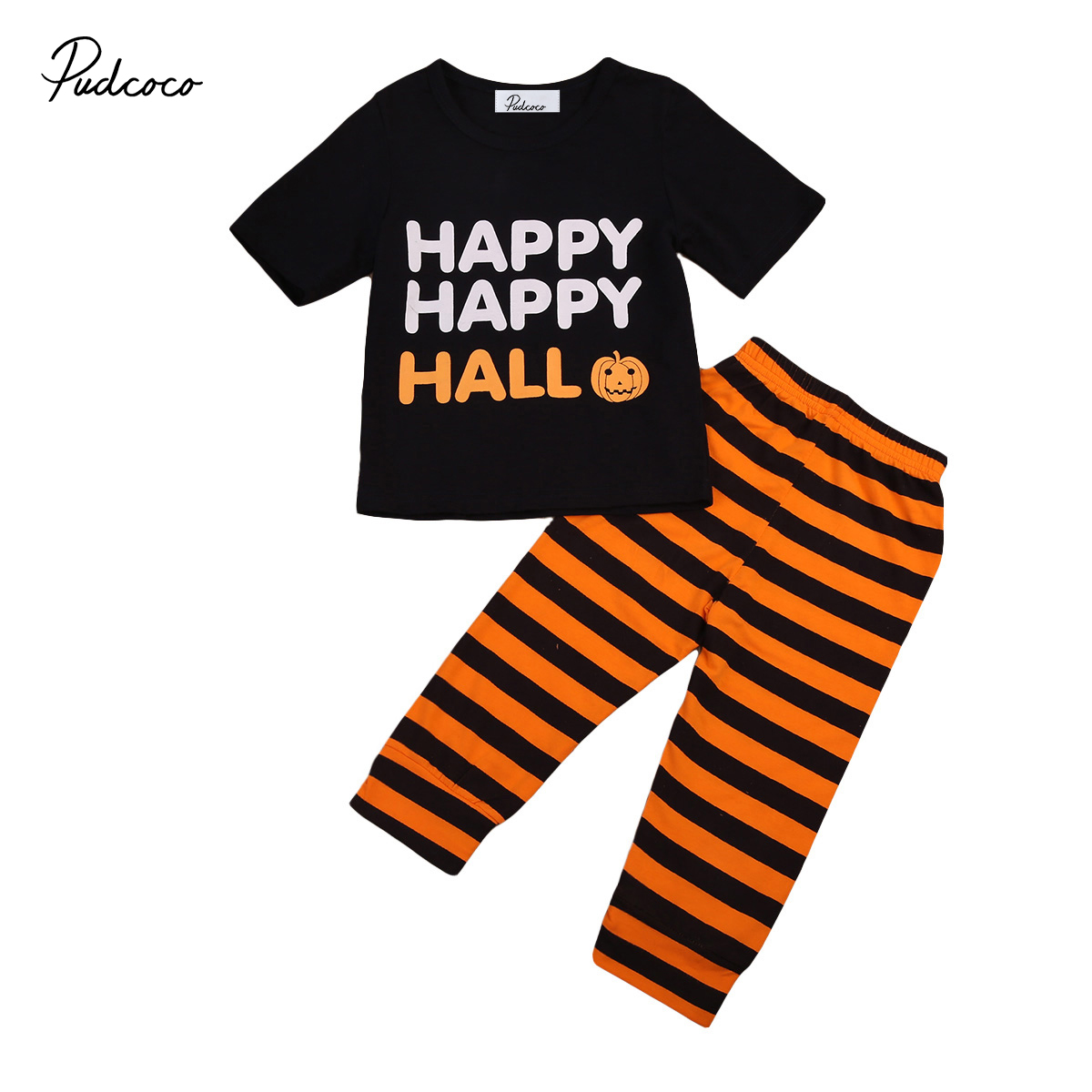 2PCS Kids Baby Toddler Boy Girl Clothes Halloween Set Happy T-shirt Top+Striped Pants Leggings Outfit Clothes 0-24M