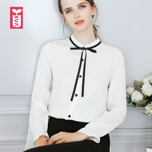 ac1b1b41097 Bohemian Sweet Office Bow Tie White Women Blouses Red Long Sleeve Shirts  Female Girl Tops Tees 2018 Summer Spring