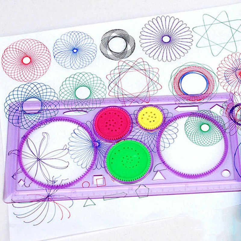 1 spiral geometric ruler drawing tools student stationery toys learning art collection children painting toys