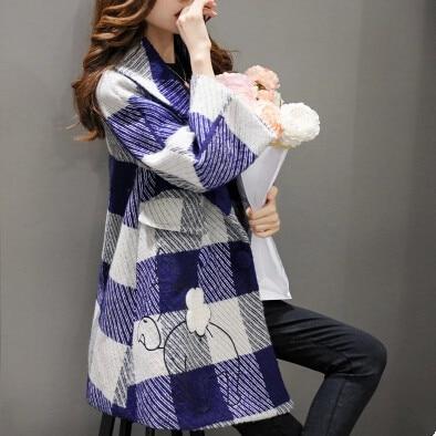 Весна auturn бренд моды Двубортные Шерстяные Пальто Женщины Plaid Длинные Зимнее Пальто Верхняя Одежда плюс размер