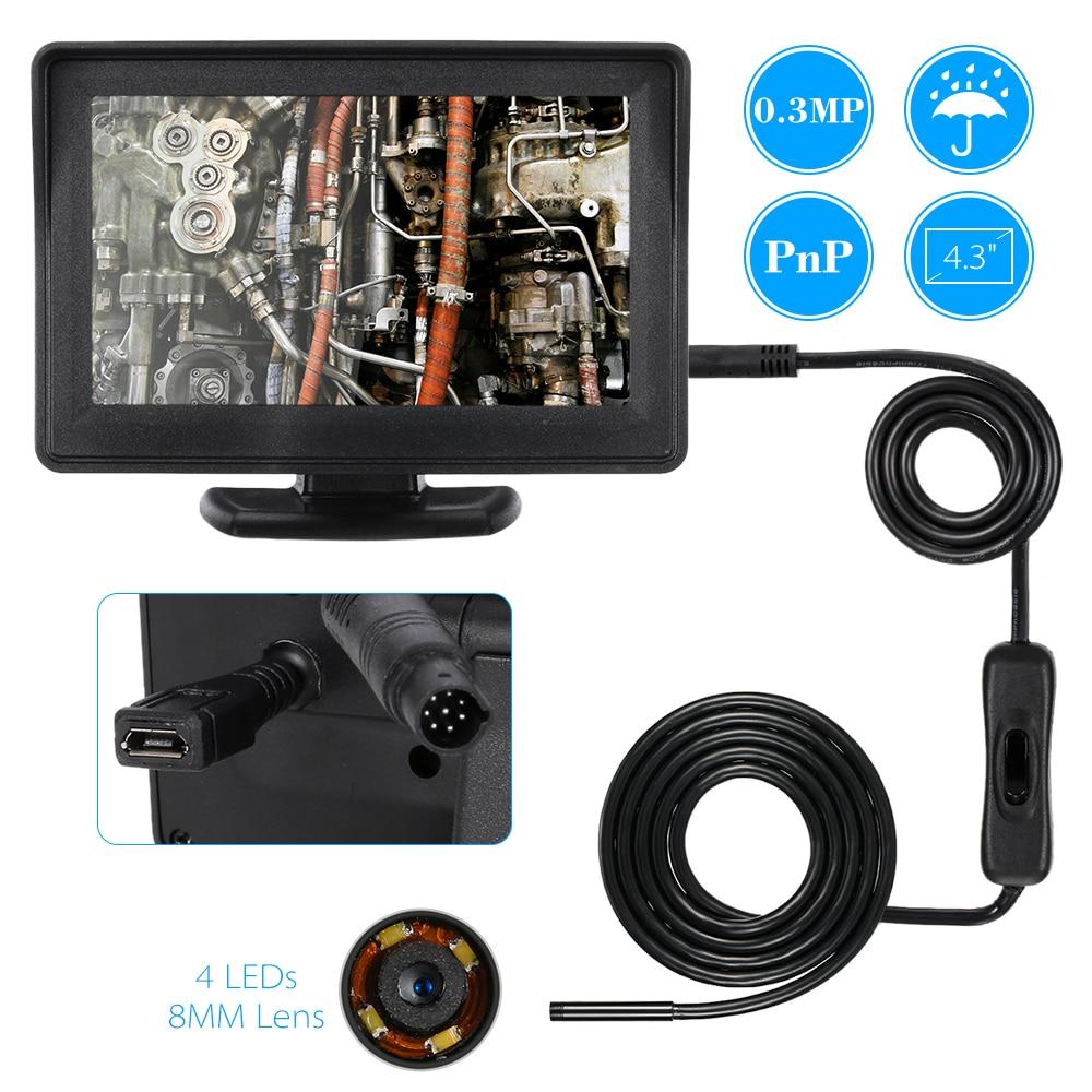 """Цена за Автомобиля диагностический сканер инструмент для Android OTG 1 М Канализационных Эндоскопа Инспекционной Бороскоп 8 ММ Len Видео DVR 4.3 """"монитор Змея Пробки Камеры"""