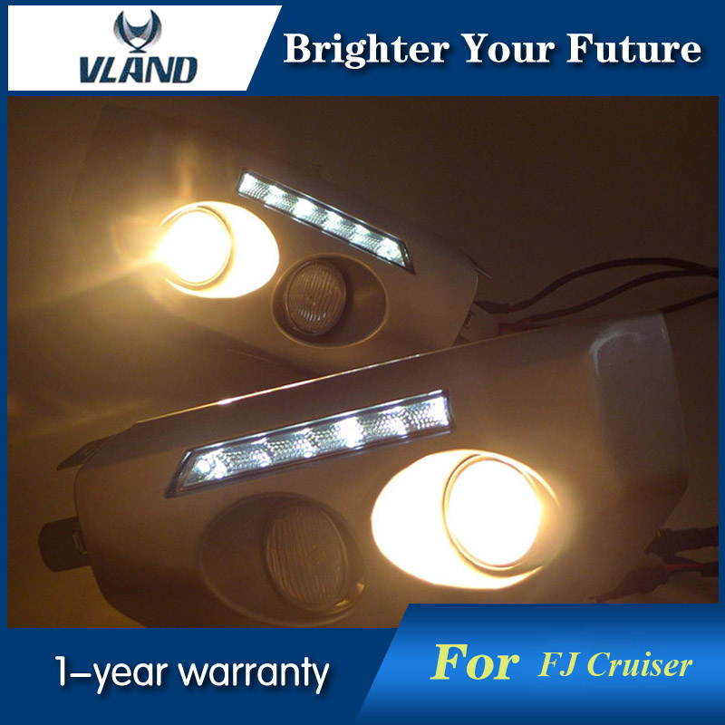 Daylight For Toyota FJ Cruiser 2007-2014 LED Daytime Running Lights DRL Front Fog Lamp free shipping vland car lamp for toyota fj cruiser led headlight taillight front grill plug and play design fit model 2007 2015