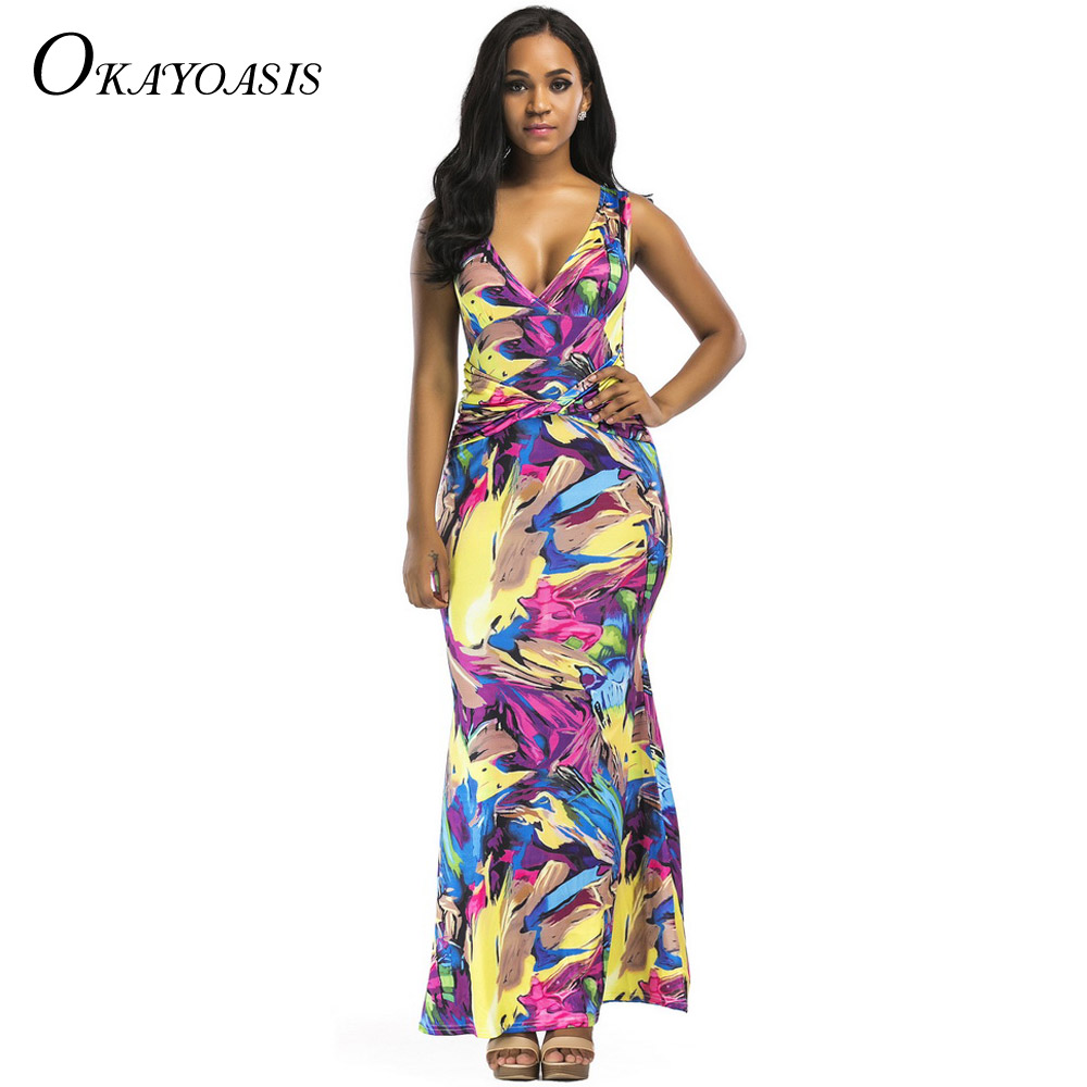 Women 2018 Summer Vintage Tropical Floral Print Long Wrap Dress Sexy  Sleeveless Bodycon Party Bohemian Maxi Dresses Vestidos a379a56c8a2b