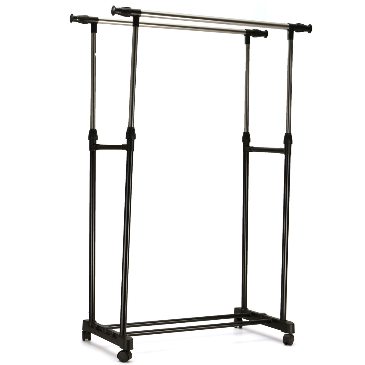 adjustable portable clothes coat hanging rail stand on wheel double garment rack home room storage movable