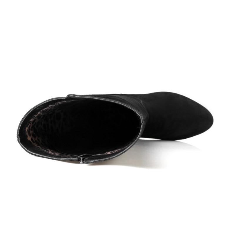 Pie Dedo Corta La Cremallera Isnom Tacón Felpa Botas Altas Femeninos Zapatos Invierno Negro Calzado Del Vaca Ante Alto Redonda Rodilla Mujeres Moda De npvp7w0qRS