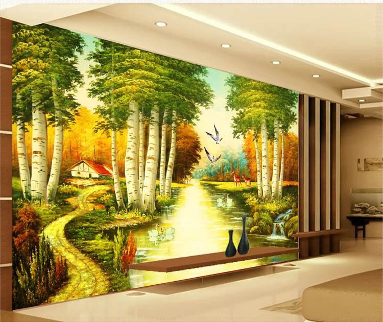 Nature River Since The Design Of Modern Household Wall Paint Murals