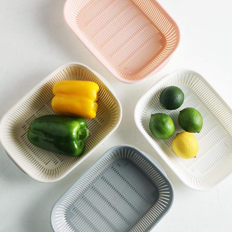 Multifunctional Double Drain Basket Bowl Washing Kitchen Strainer Noodles Vegetables Fruit Cleaning Portable