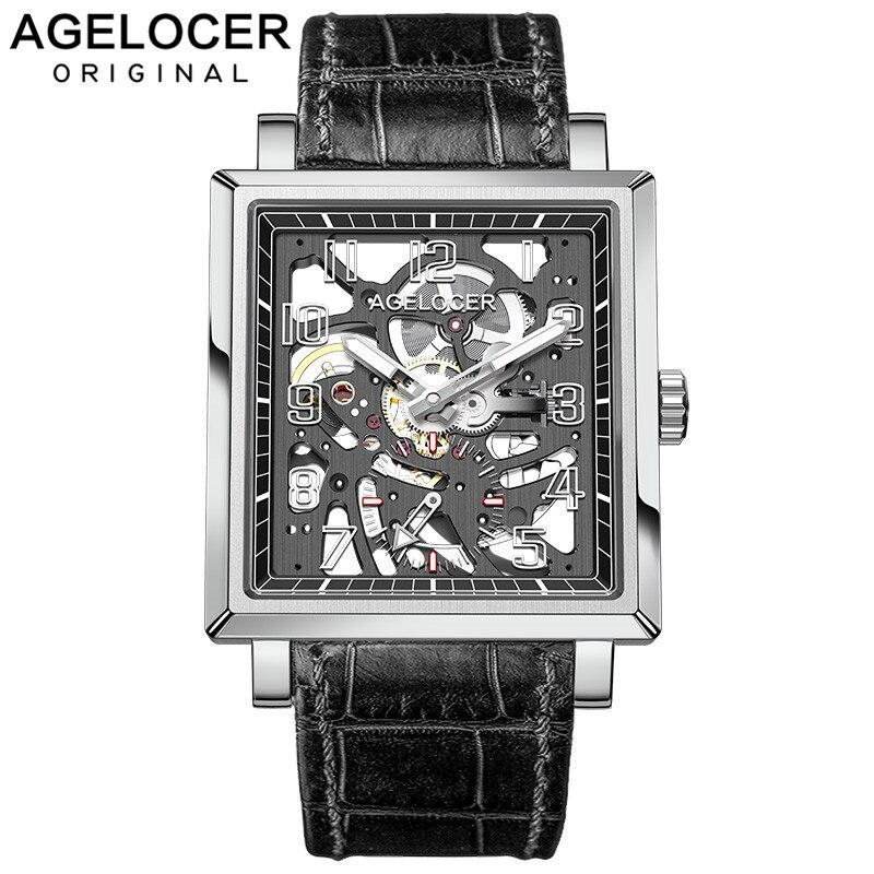 Agelocer luxe Top marque hommes montres automatiques en cuir noir carré squelette montres mécaniques 3501A1