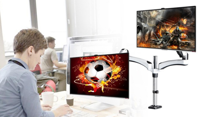 New Desktop Clamping 360 degree full rotation Dual Arm for 15-27 Monitor Holder tv wall mount Bracket loading 3-8 kgs DS124C levett caesar prostate massager for 360 degree rotation g spot
