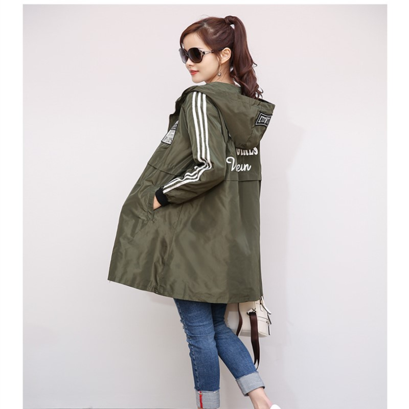 Spring Autumn Ladies's Windbreaker Leisure Zipper Trench Hooded Streetwear Feminine Midi Sample Unfastened Coat Massive Yards Feminine