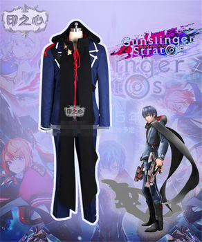Custom Made Anime GUNSLINGER STRATOS Rontier S Tohru Kazasumi Fighting Uniform Fashion Cosply Costume Coat+Pants  D