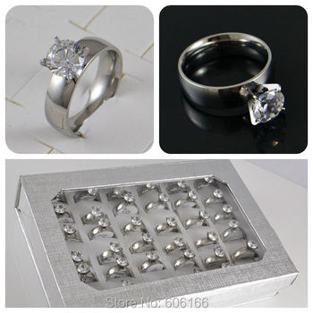 36x 8mm Transparent CZ Engagement Wedding Ring Enragement ring Stainless Steel Ring Cubic Zirconia Fashion Jewelry image