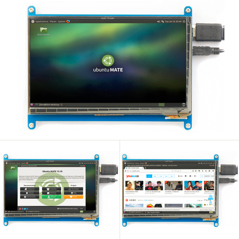 Rev2.1 оригинальный 7 дюймов ЖК-дисплей Экран модуль емкостный сенсорный для Raspberry Дисплей Ultra Clear для малиновый пирог 1024X600