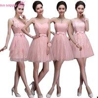 Belle encolure conceptions braidal élégant lumière rose courte robe de bal parti robes jolies robes 2018 nouvelle arrivée W3382