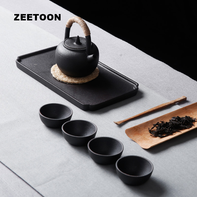 Zen Japanese Coarse Pottery Portable Kung Fu Tea Set Teapots Teacup Tea Cans Creative Ceramics Home Decor With Travel Bag, Gift