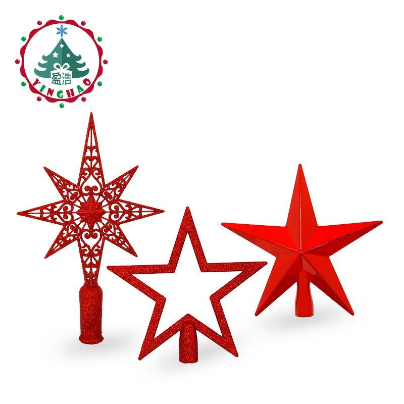 Inhoo rojo superior del árbol de Navidad decoraciones estrellas para casa tabla Topper Decoración Accesorios Navidad suministros decorativos