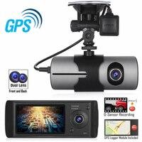 R300 Dual Lens Dash Cam 2.7 Full HD Car DVR Camera Micro TF Built in microphone/speaker Video Recorder GPS Logger