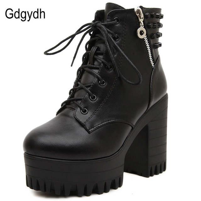 412c176239ec9 Gdgydh New brand 2017 spring autumn women boots platform high-heeled thick  heel lacing casual