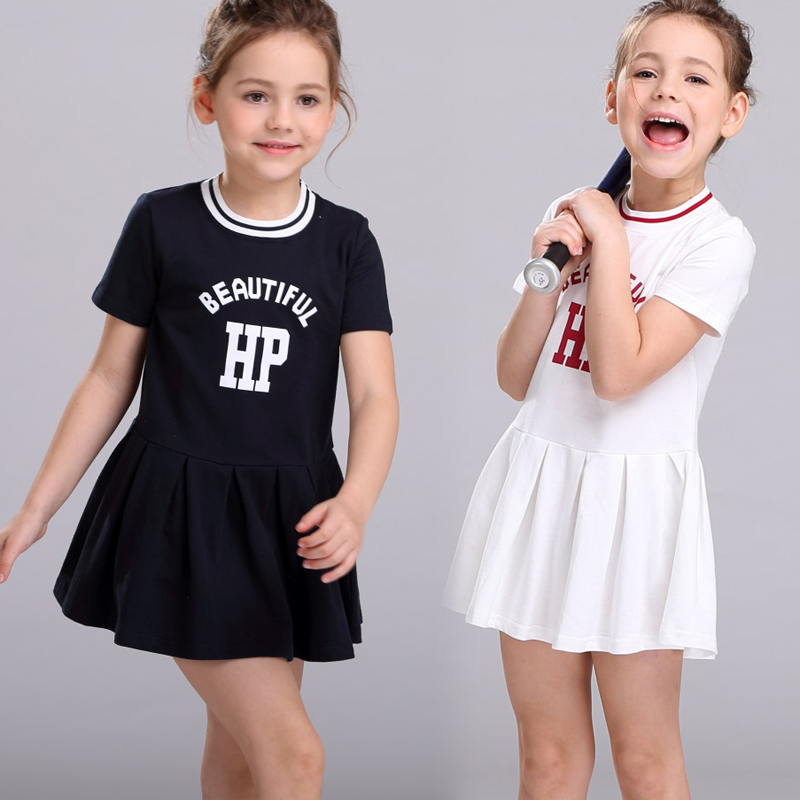 2-9 Yrs Letter Printed Girls Dresses Summer 2017 Sports Dress Baby Girl Cotton School Clothes Casual Children Clothing clearance baby dresses princess girls dress 2 5years cotton clothing dress summer clothes for girl