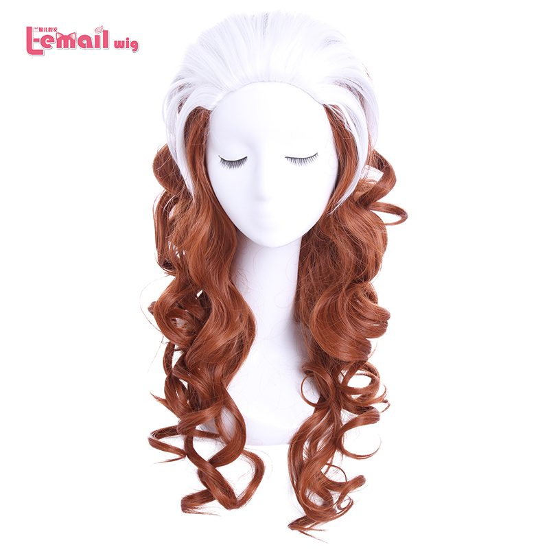 L-email Wig Brand 60cm/23.62inches Rogue Cosplay Wigs White Mixed Brown Heat Resistant Synthetic Hair Perucas Cosplay Wig