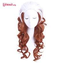 L email wig Brand 60cm/23.62inches Rogue Cosplay Wigs White Mixed Brown Heat Resistant Synthetic Hair Perucas Cosplay Wig