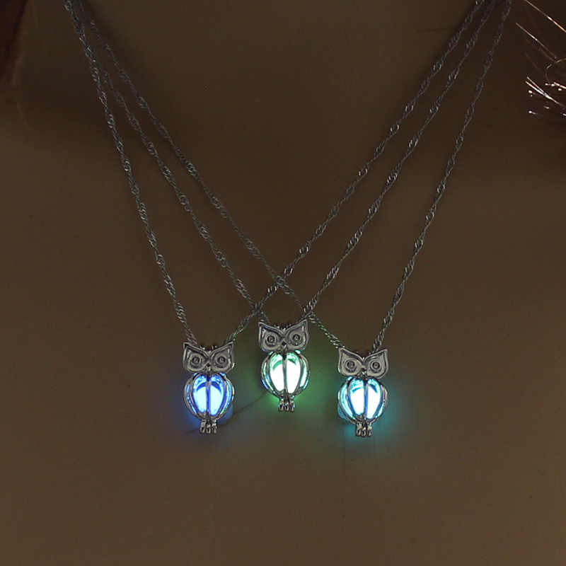 2019 New Hot Stylish Luminous Owl Pendant Necklace Glow-In-The-Dark Pendant Silver - Plated Lady's Necklace Women Jewelry
