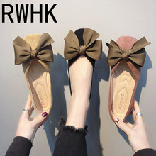 RWHK Female 2019 spring new flat bottom wild Korean version of the square head bow shallow mouth single shoes B279