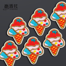 6 Pieces Cute Ice Cream Mini Patch Clothes Stickers Iron on Patches for Clothing DIY Children Decorative Badges Fastso(China)