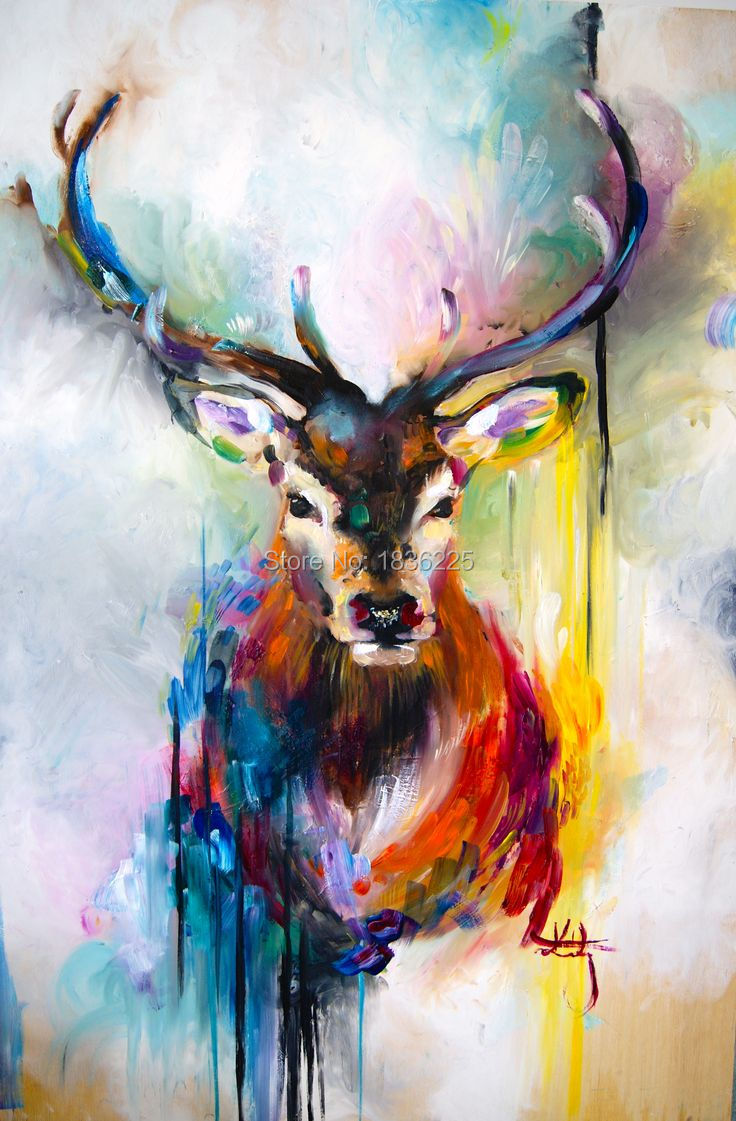 FREE SHIPPING colorful bright color Canvas Wall Art Deer Abstract Animal Oil Painting UNFRAME Home Decor