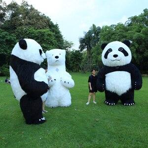 Image 1 - Nouveauté 2.6M gonflable Panda Costume pour la publicité personnaliser ours polaire gonflable mascotte Halloween Costume pour adulte