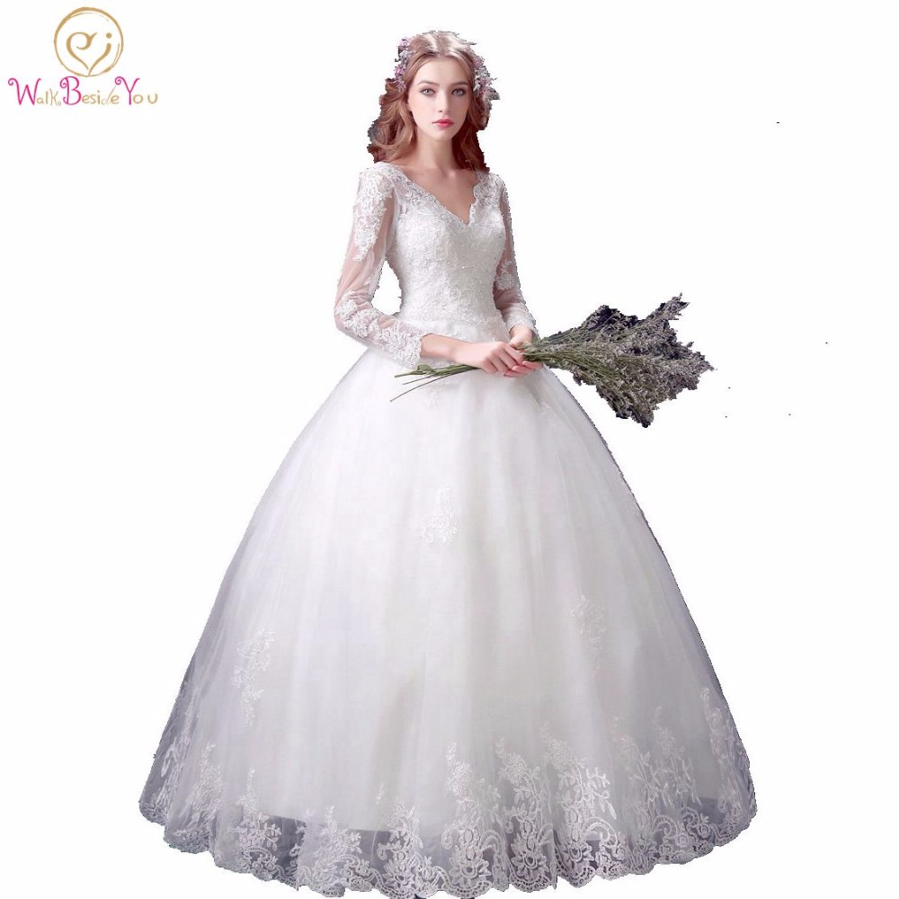100 real images lace wedding dresses muslim ivory beaded for Ivory beaded wedding dress