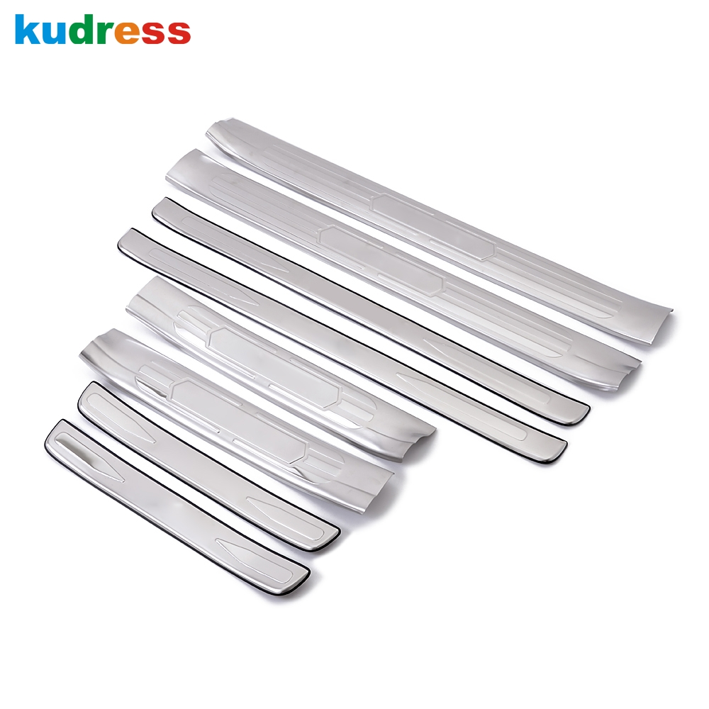 For Toyota Prado Land Cruiser FJ120 2003-2009 Stainless Steel Scuff Plate Cover External Side Door sills Welcome Pedals 8pcs for 2014 2015 toyota prado j150 land cruiser 150 abs chrome side door body molding trim cover door scuff strip car accessories