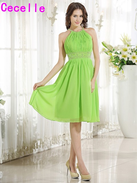 2017 Apple Green Short A Line Beaded Chiffon Bridesmaid Dresses Knee Length Informal Casual Wedding