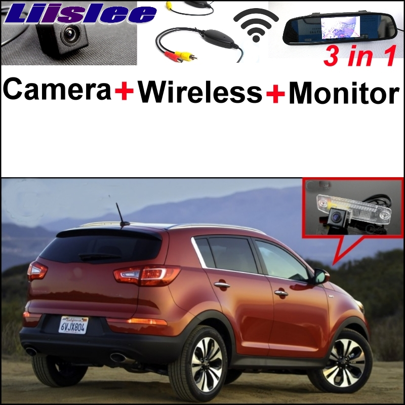 Liislee Wireless Receiver 3 in1 Special Rear View Camera + Mirror Monitor Easy Back Parking System For KIA Sportage R 2011~2016 for ford escape maverick mariner car parking sensors rear view back up camera 2 in 1 visual alarm parking system