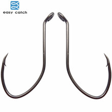 Easy Catch 100pcs 8832 High Carbon Steel Fishing Hooks Black Offset Wide Gap Catfish Bait Fishhooks Size 1 4 6 8 10 1/0 2/0 4/0