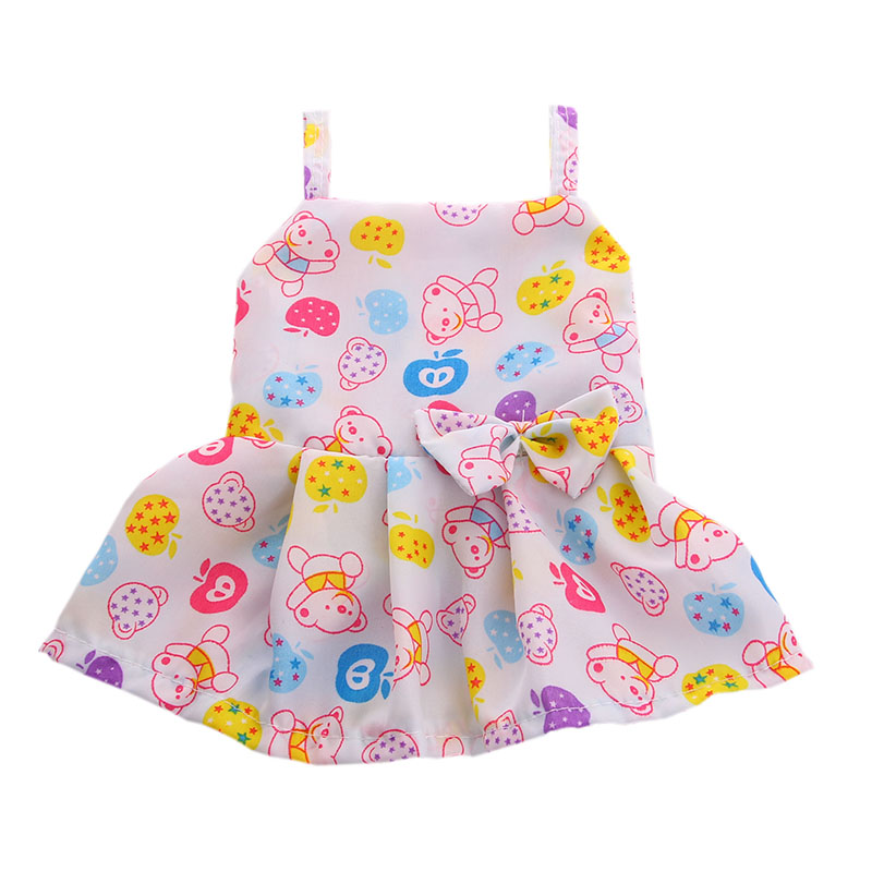 Doll Clothes cute Bear pattern waist with bow Fit 18 Inch American Girl Doll for Chrid birthday Gift