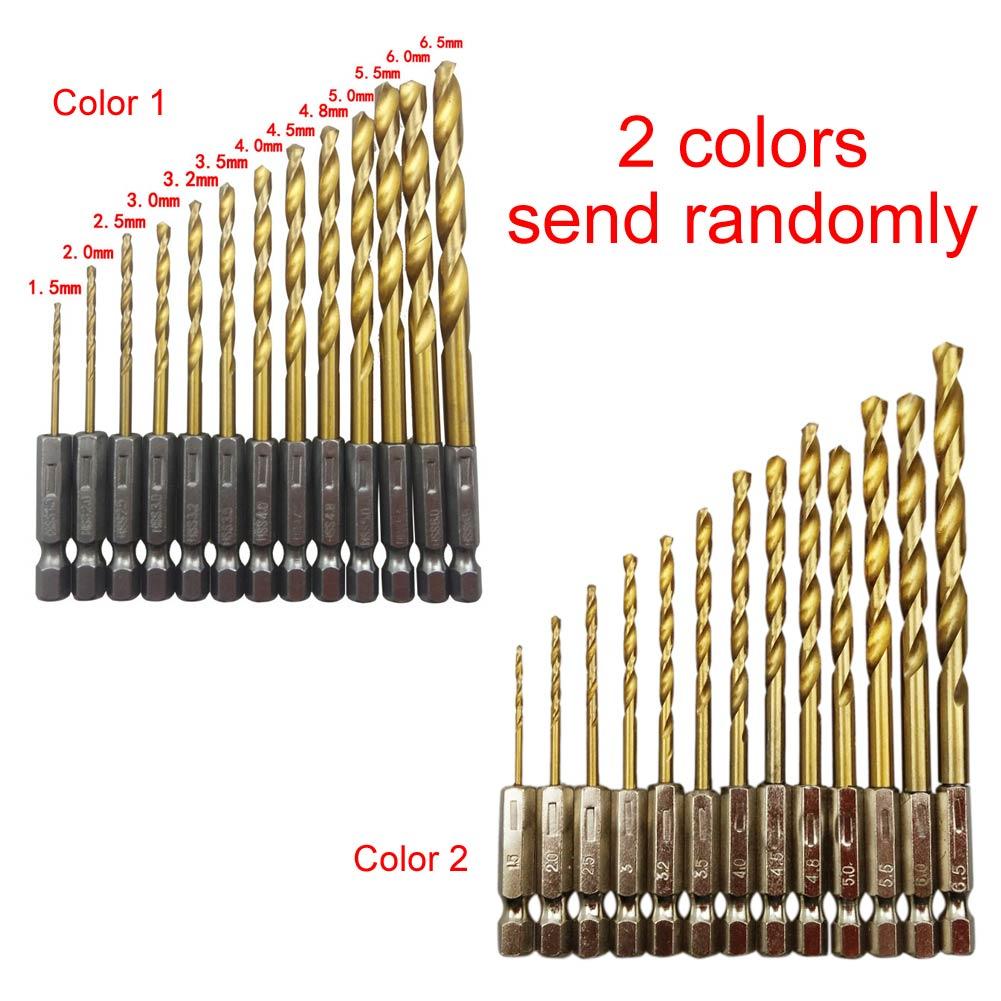 New Drill Bit Hand Tools 13 Pcs Titanium Coated HSS Drill Set Twist Drill Hex Shank Drill 1.5mm-6.5mm g 3pcs set quick change hex shank larger titanium coated m2 tool step drill bit set 71960 t