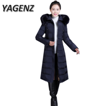 YAGENZ6XL 2017 Winter Parkas Hooded Jacket Coats Women Clothing Elegant Slim Thick Down Cotton Long Overcoat Warm Jacket Female