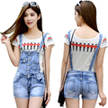 Top Quality New Casual Denim Jumpsuit Rompers Women Mini Jeans Overalls For Women Denim Romper playsuits Strap Jumpsuits DS-3027