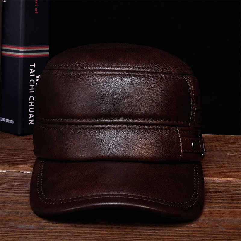 HL064 Men winter warm army hat adjustable ear flat black brown cap   Aorice  Cow Leather a69f26e0b8a3